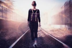 Railway Tracks Walk Woman