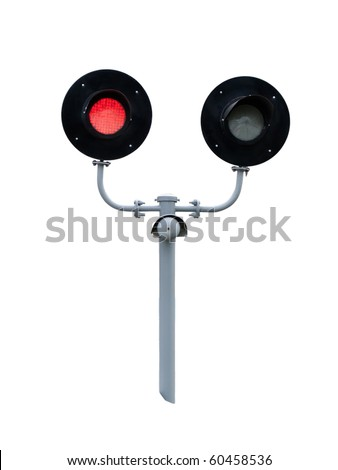 railway traffic lights isolated on white background