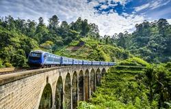 Railway train bridge on mountain green natural landscape