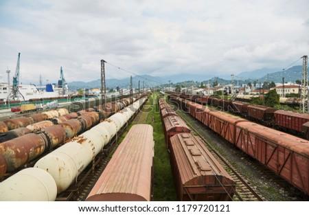 Railway. Train station. Old freight cars. Batumi. Georgia. #1179720121