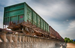Railway truck parked at the station waiting for unloading