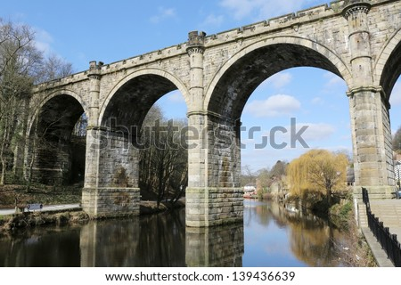 Railway viaduct over The River Nidd at Knaresborough, Yorkshire, England.