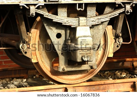 Railway wheel and tyre showing spring leaf suspension and brake shoes