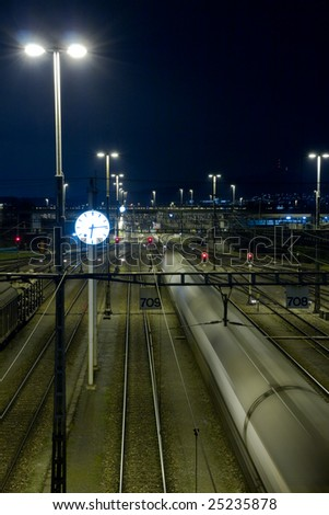 railway yard in the night
