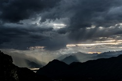 Rain and storm formation over the Maggiore Lake, Varese