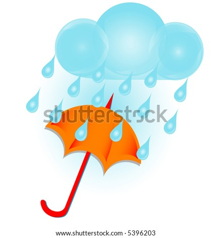 Rain cloud and umbrella graphic. - stock photo