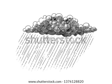 Rain cloud isolated. Decorative drawing. Pen and ink retro classic engraving style illustration.