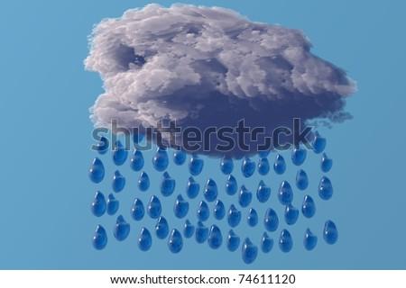 rain cloud with droups digital render image