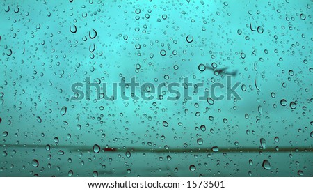 rain-drops background of airport window