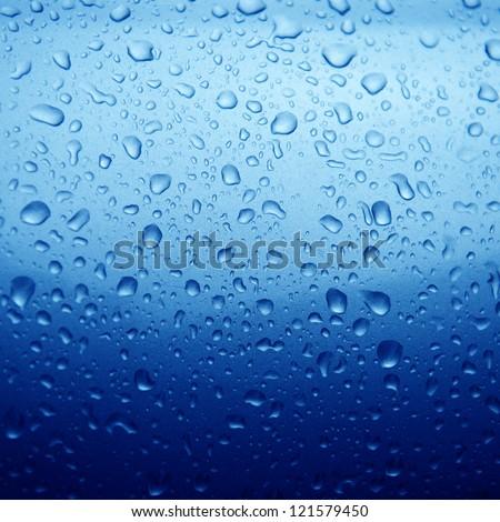 rain drops on car body, shallow focus