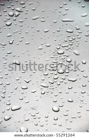 Rain drops on the glass of a car