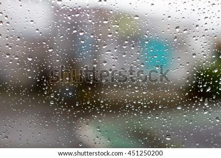 rain drops on window  #451250200