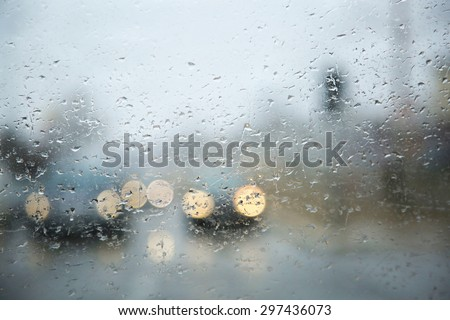 Rain drops on window, rainy weather, rain background, rain and bokeh