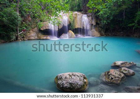 Rain forest waterfall (Erawan Waterfall) in Kanchanaburi, Thailand