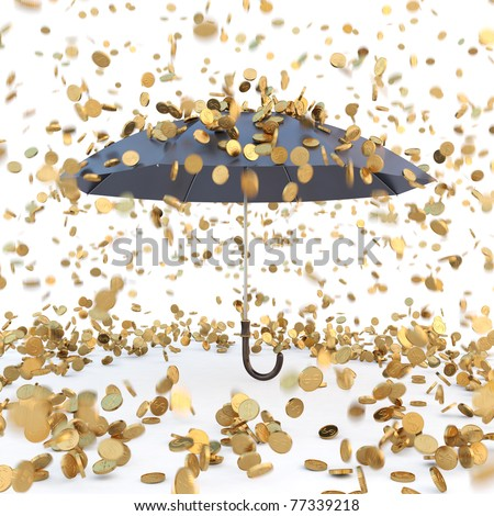 rain from golden coins falling on the open umbrella. isolated on white.