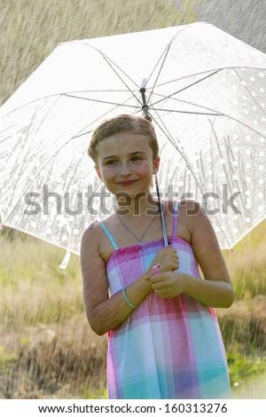 Rain - happy girl with an umbrella in the rain