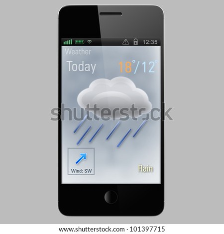rain icon on a screen of smart phone