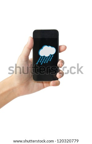 Rain icon  on touch screen mobile phone, weather forecast concept.