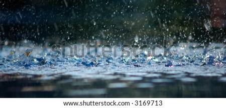 Rain in a swimming pool.