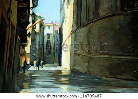 rain in gothic quarter of barcelona. painting by oil on a canvas. illustration
