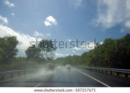 Rain on windscreen after rain storm on a sunny day