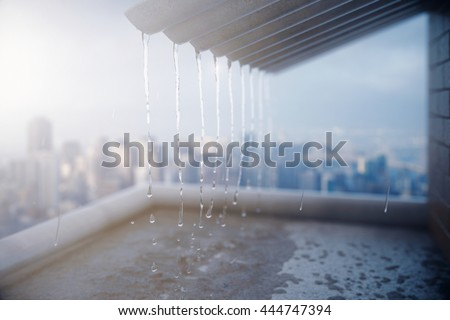 Rain pouring off roof on city background. 3D Rendering ストックフォト ©