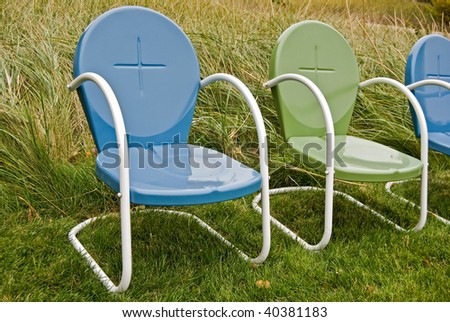 rain puddles on outdoor chairs