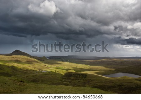 Rain shower over Isle of Skye