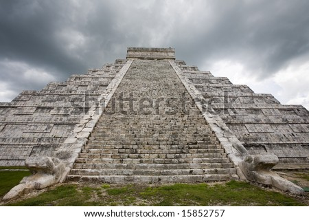 Rain storm over main temple at Chichen Itza one of the new seven wonders of the world
