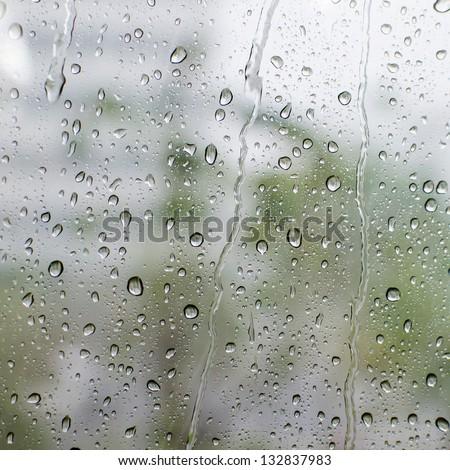 rain Water drop on a mirror