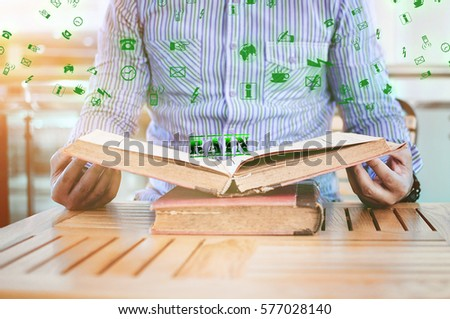 Rain word and man sitting while open the book #577028140