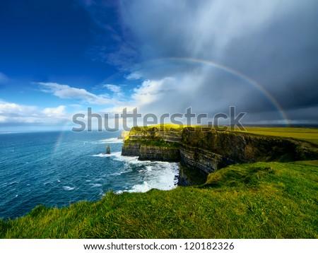 Rainbow above Cliffs of Moher. Ireland.