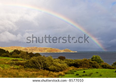 Rainbow above the lake with the cloudy sky, Isle of Skye, Scotland