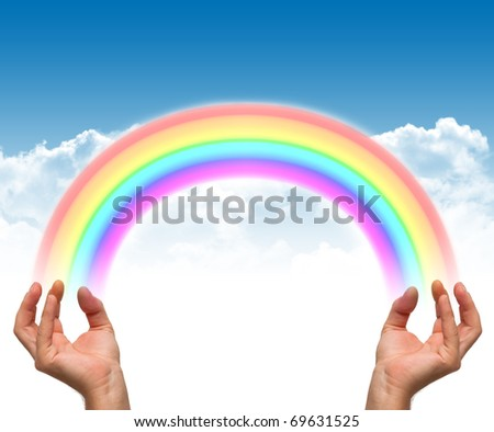 Rainbow and hands