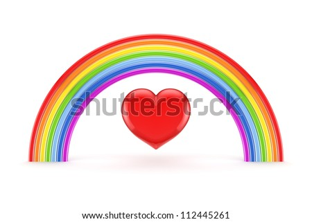 Rainbow and heart symbol.Isolated on white background.3d rendered.