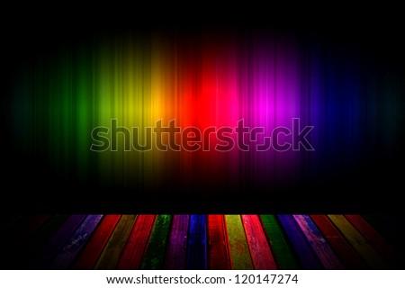 rainbow and wood background