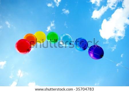 rainbow balloons in blue sky