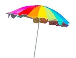 Rainbow beach umbrella isolated on white background
