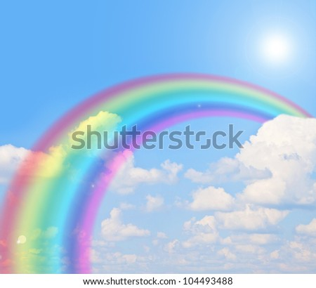rainbow blue summer sky - stock photo