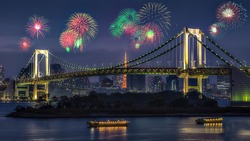 Rainbow Bridge and Tokyo Tower with Firework at Odaibo