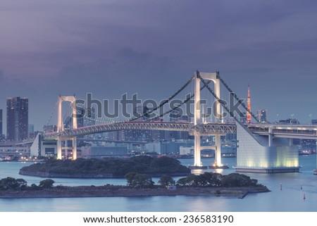 Rainbow Bridge At Night, Tokyo Japan