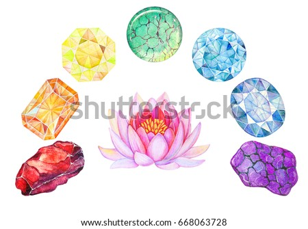 Rainbow Chakra Stones Set for meditation isolated on white background. Hand drawn watercolor illustration of Healing Crystals with pink lotus flower