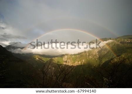Rainbow, China, Mountains, rain, storm,