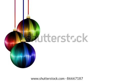 rainbow Christmas ball on white background
