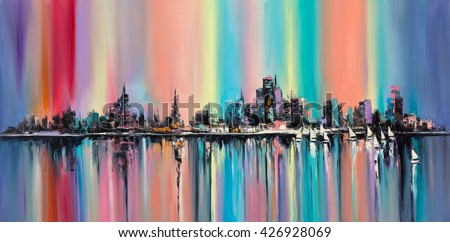 Rainbow city Original oil painting. No particular city's skyline in fantasy rainbow colors.