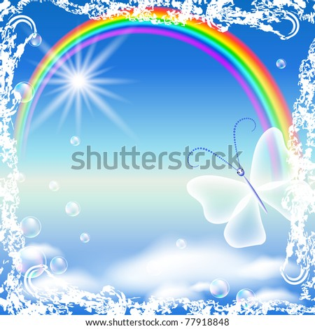 Rainbow, clouds and butterfly in grunge frame. Raster version of vector.