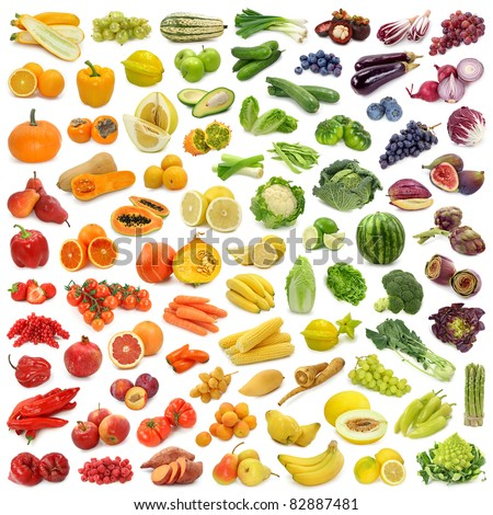 Rainbow collection of fruits and vegetables #82887481