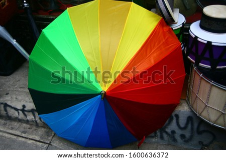 Rainbow- colored, colorful umbrella for decoration, art Stok fotoğraf ©