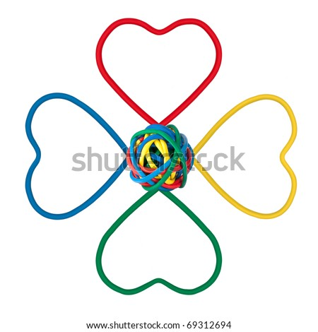 Rainbow Colored Flower Shape made from multi colored cables