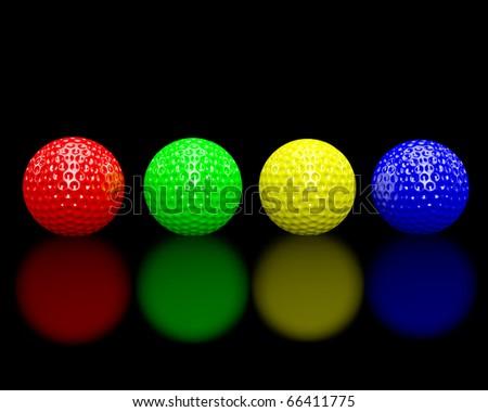 Rainbow colored golf balls on a glossy black floor.